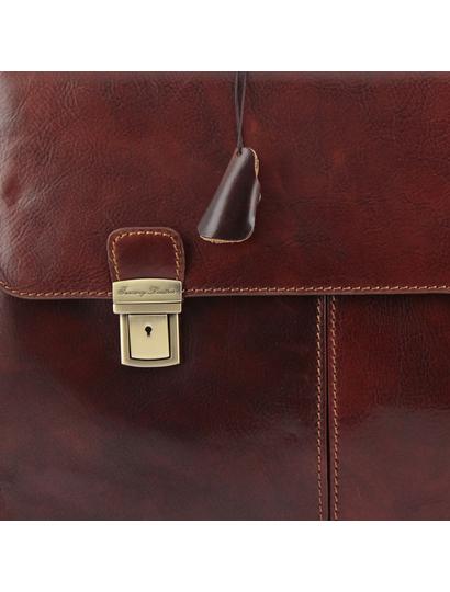 Servieta barbati din piele naturala Tuscany Leather, maro, Bolgheri