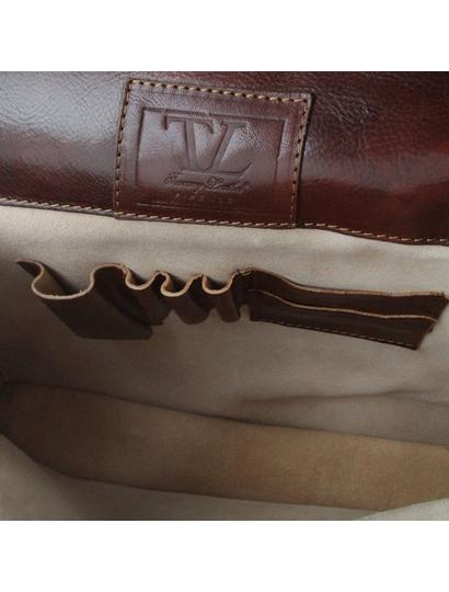 Servieta barbati din piele naturala Tuscany Leather, maro inchis, Bolgheri