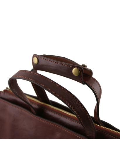 Servieta dama de piele naturala Tuscany Leather, maro, Palermo
