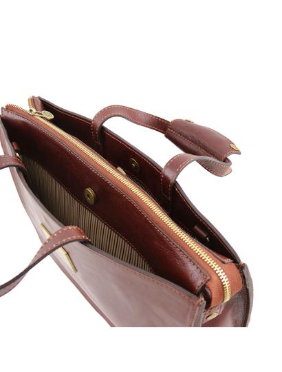 Servieta functionala dama din piele naturala Tuscany Leather, maro, Palermo