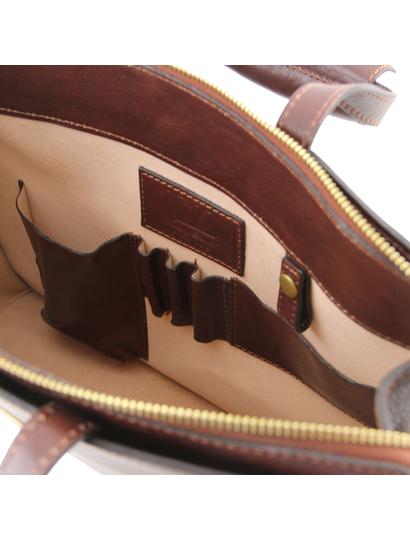 Servieta  dama de piele naturala Tuscany Leather, maro  Palermo