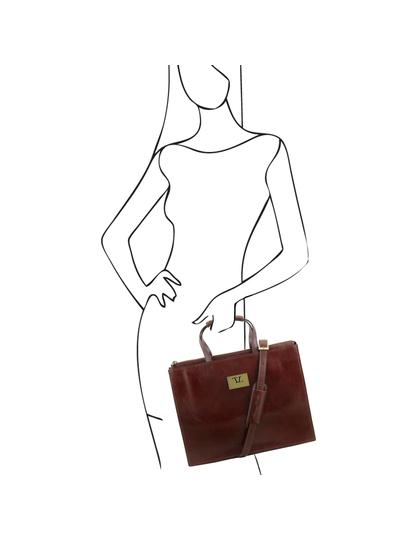 Servieta functionala  dama din piele naturala Tuscany Leather, maro  Palermo