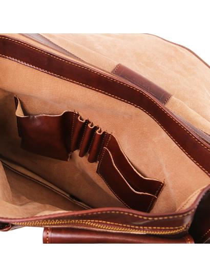 Servieta barbati din piele naturala Tuscany Leather, maro  Modena mare