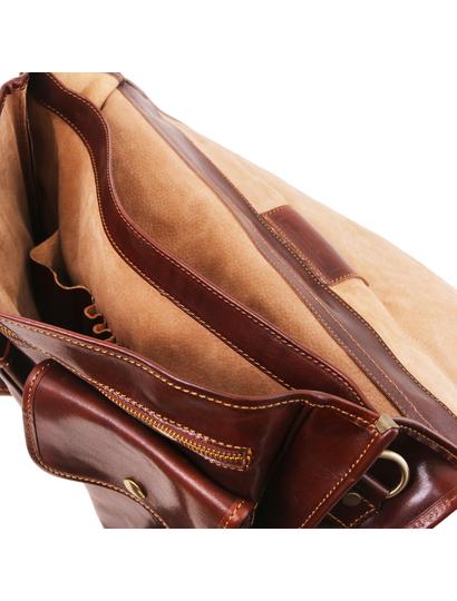 Servieta barbati din piele naturala Tuscany Leather, maro inchis, Modena mare