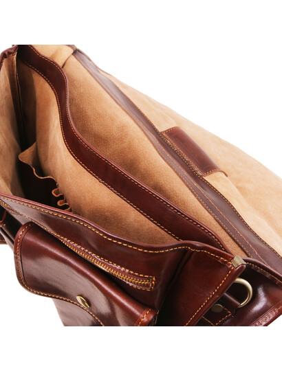 Servieta barbati din piele naturala Tuscany Leather, maro, Modena mare