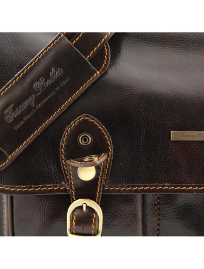 Servieta maro inchis barbati din piele naturala Tuscany Leather, Modena mare