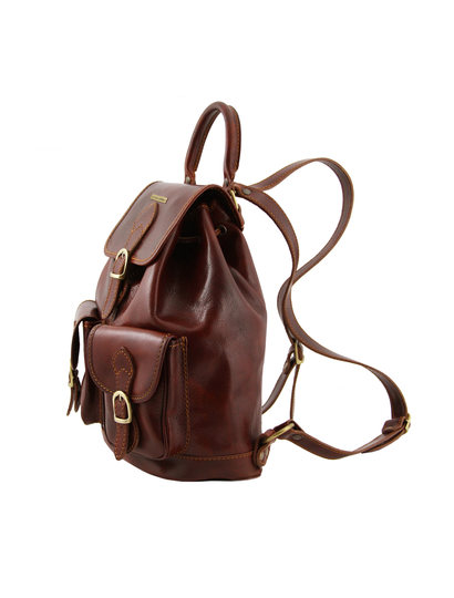 Rucsac dama maro inchis din piele Tuscany Leather Tokyo