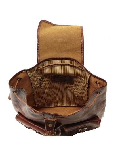 Rucsac dama din  piele Tuscany Leather maro inchis Tokyo