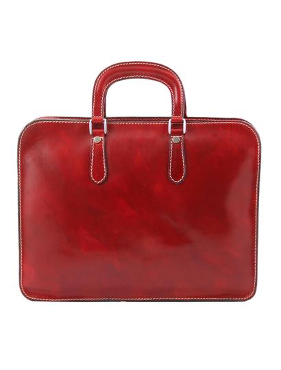 Servieta barbati Tuscany Leather cu un compartiment din piele rosie Alba