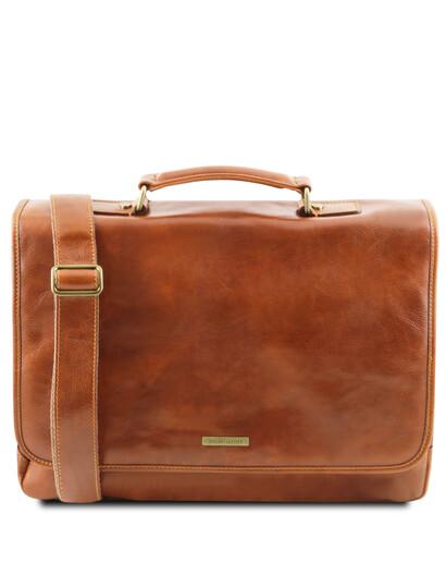 Servieta din piele naturala Tuscany Leather, honey, Mantova