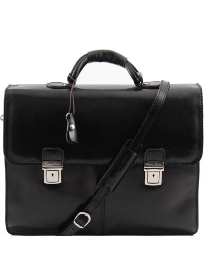 Servieta barbati din piele naturala Tuscany Leather, neagra, Bolgheri
