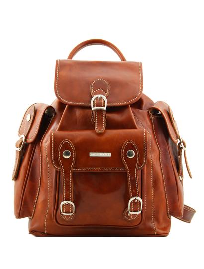 Rucsac dama din piele naturala Tuscany Leather honey Pechino