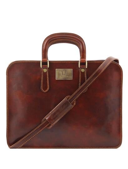 Servieta barbati Tuscany Leather cu un compartiment din piele maro Alba
