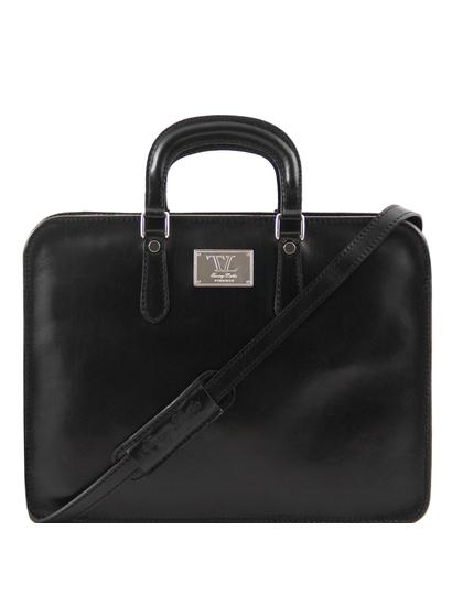 Servieta barbati Tuscany Leather cu un compartiment din piele neagra Alba