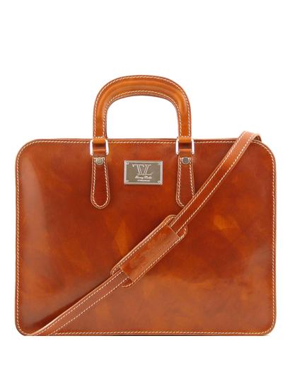 Servieta barbati Tuscany Leather cu un compartiment din piele honey Alba
