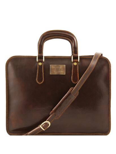 Servieta barbati Tuscany Leather cu un compartiment din piele maro inchis Alba