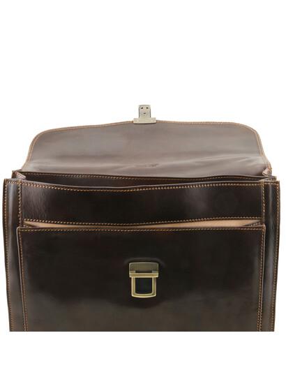 Servieta barbati din piele naturala Tuscany Leather, maro inchis, Napoli