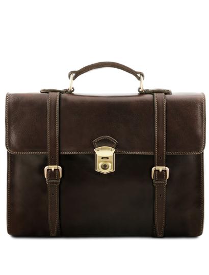 Servieta laptop Tuscany Leather, din piele maro inchis Viareggio