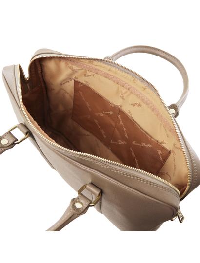 Geanta laptop dama eleganta Tuscany Leather, Prato, dark taupe