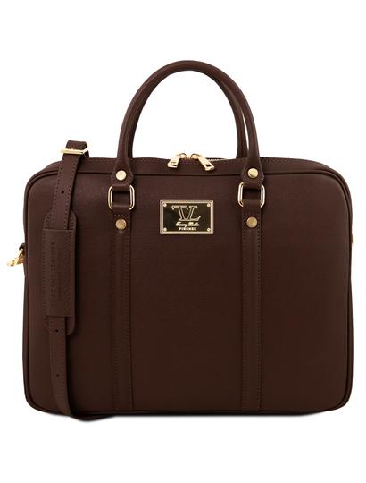 Geanta laptop dama eleganta Tuscany Leather, Prato, maro inchis