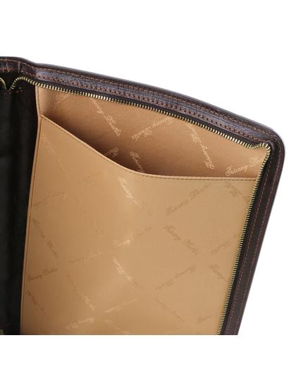 Mapa din piele naturala pentru documente Tuscany Leather, maro inchis, Ottavio