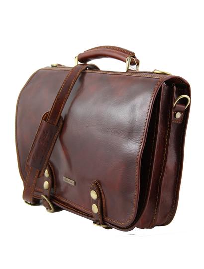 Geanta messenger barbati din piele naturala Tuscany Leather, maro, Capri
