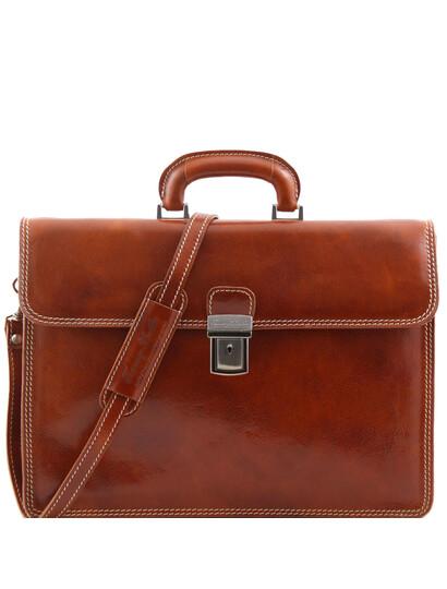 Servieta barbati din piele naturala Tuscany Leather, honey, Parma