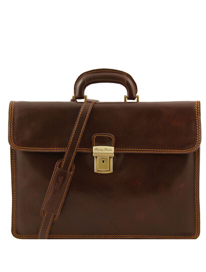 Servieta barbati din piele naturala Tuscany Leather, maro inchis, Parma
