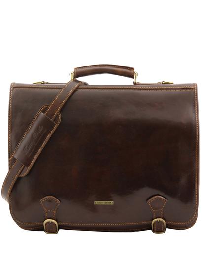 Geanta messenger barbati din piele naturala Tuscany Leather, maro inchis, Ancona