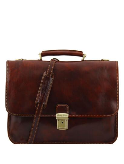 Servieta diplomat Tuscany Leather din piele maro cu doua compartimente Torino