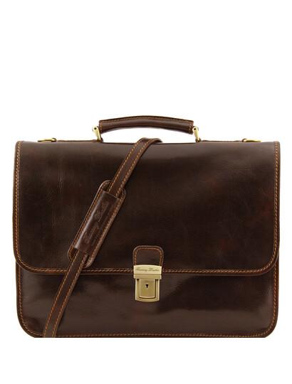 Servieta diplomat Tuscany Leather din piele maro inchis, Torino