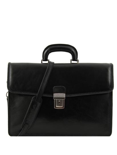 Servieta barbati din piele naturala Tuscany Leather, neagra, Amafli