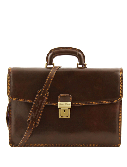 Servieta barbati din piele naturala Tuscany Leather, maro inchis, Amafli