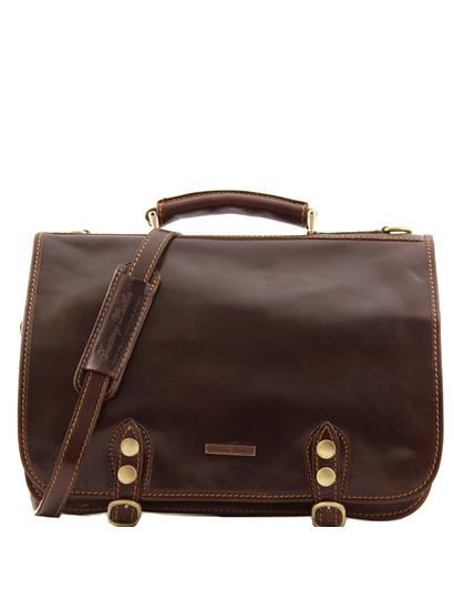 Geanta messenger barbati Tuscany Leather din piele maro inchis cu doua compartimente Capri