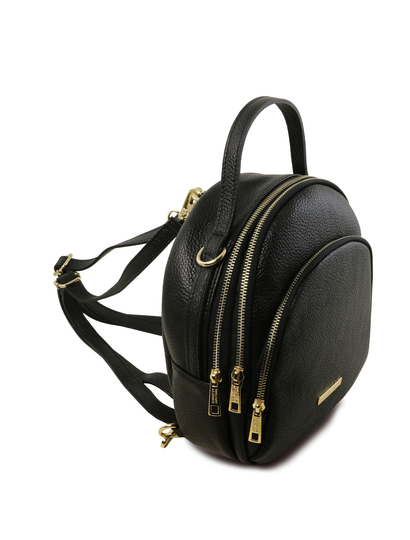 Rucsac dama casual din piele naturala Tuscany Leather, TL Bag, negru