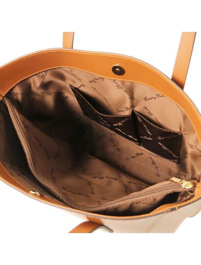 Geanta dama de umar din piele naturala Tuscany Leather, coniac, Nemesi