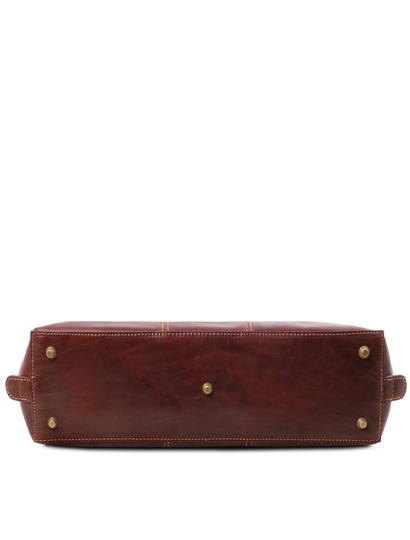 Servieta dama de piele naturala Tuscany Leather, maro inchis, Ravenna