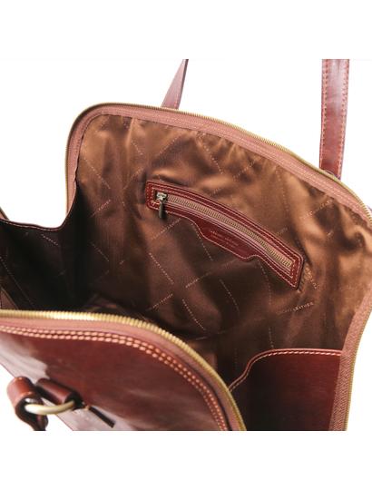 Servieta functionala  dama din piele naturala Tuscany Leather, honey, Ravenna