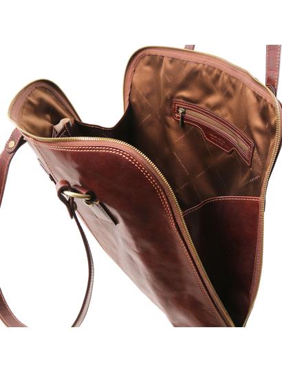 Servieta functionala  dama din piele naturala Tuscany Leather, maro, Ravenna