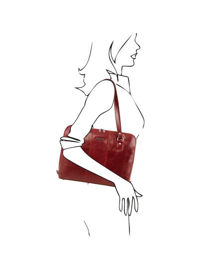Servieta dama din piele naturala Tuscany Leather, rosie, Ravenna