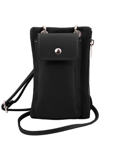 Geanta telefon Tuscany Leather din piele neagra mini cross
