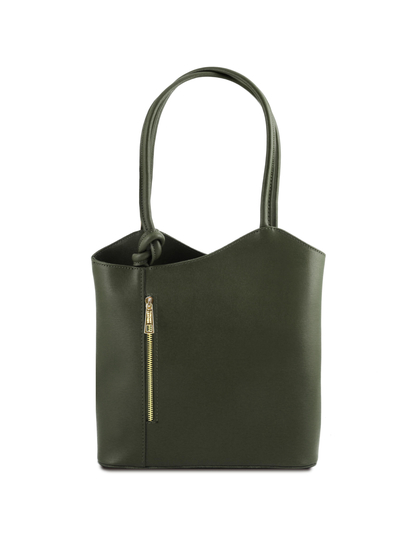 Geanta convertibila in rucsac Tuscany Leather din piele verde inchis Patty