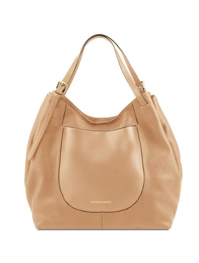 Geanta shopper Tuscany Leather din piele naturala sampanie Cinzia