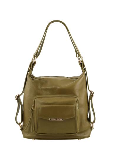 Rucsac dama si geanta de umar 2in1 Tuscany Leather din piele verde masliniu