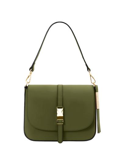 Geanta piele naturala dama Tuscany Leather, verde masliniu, Nausica