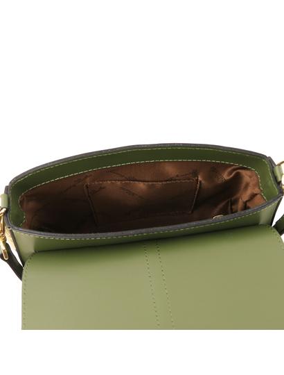 Geanta piele naturala dama Tuscany Leather, verde masliniu