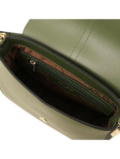Geanta dama din piele naturala Tuscany Leather, verde masliniu, Nausica