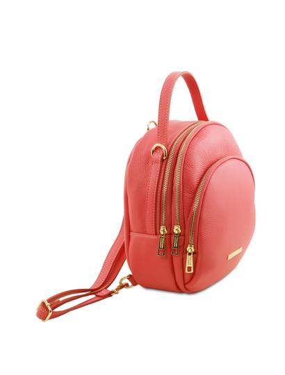 Rucsac dama din piele naturala Tuscany Leather, coral, TL Bag