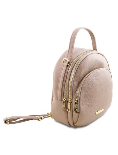 Rucsac dama din piele naturala Tuscany Leather, nude, TL Bag