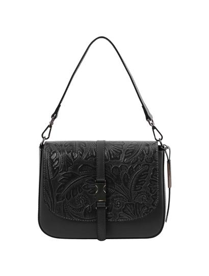 Geanta de umar Tuscany Leather, Nausica, din piele naturala cu print floral, neagra